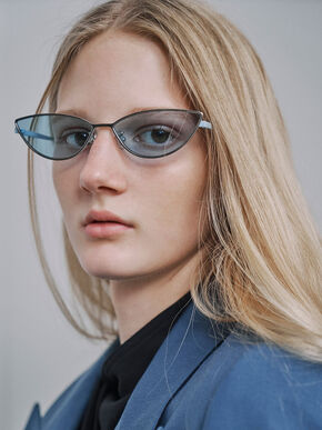 Tinted Cat-Eye Sunglasses, Blue, hi-res