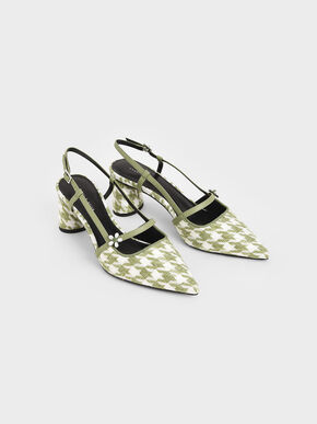 Houndstooth Flower Embellished Slingback Mary Janes, Green, hi-res