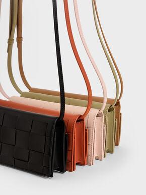Woven Long Wallet, Black, hi-res