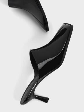 Patent Covered Mules, Black, hi-res