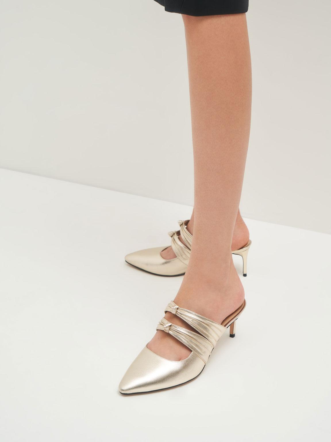 Knot Detail Metallic Heeled Mules (Kid Leather), Gold, hi-res