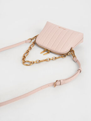 Chain Handle Panelled Crossbody Bag, Light Pink, hi-res