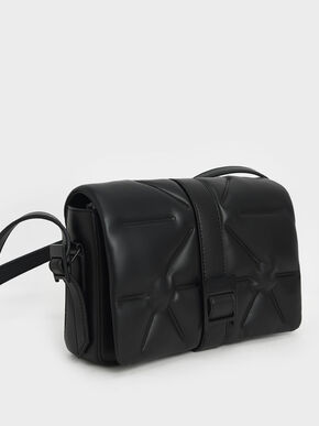 Quilted Shoulder Bag, Ultra-Matte Black, hi-res