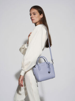 Double Handle Trapeze Tote, Light Blue, hi-res