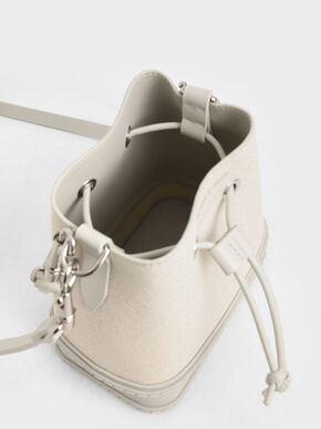 Canvas Drawstring Bucket Bag, Cream, hi-res