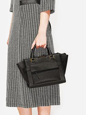 Front Flap Trapeze Tote Bag, Black, hi-res