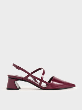 Patent Strappy Trapeze Heel Pumps, Red, hi-res