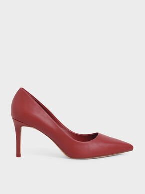 Pointed Toe Pumps, Red, hi-res