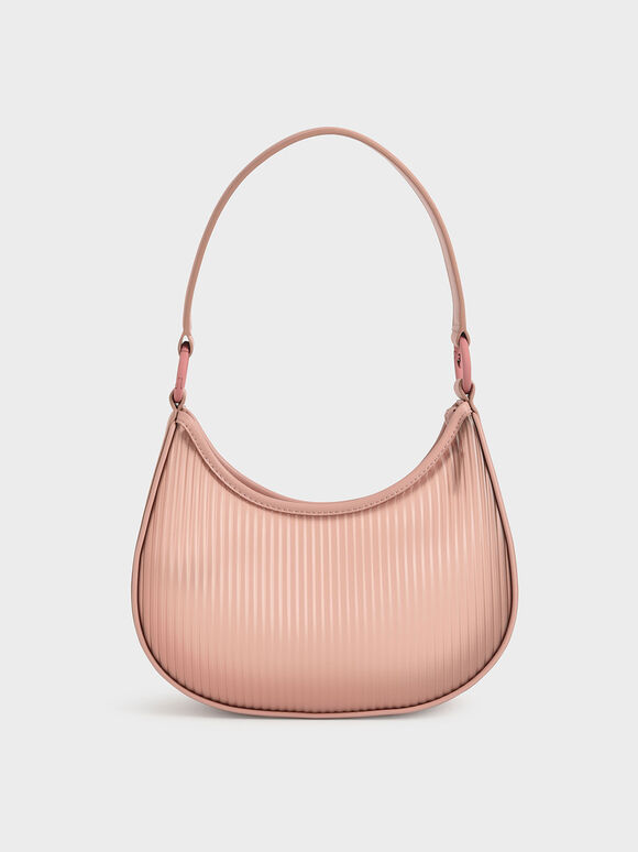 Acrylic Chain Handle Hobo Bag, Blush, hi-res