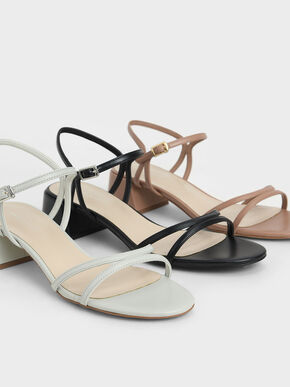 Strappy Block Heel Sandals, Tan, hi-res