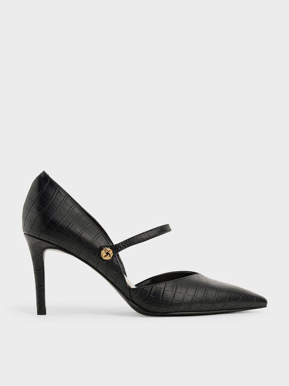 Croc-Effect D'Orsay Stiletto Pumps, Animal Print Black, hi-res