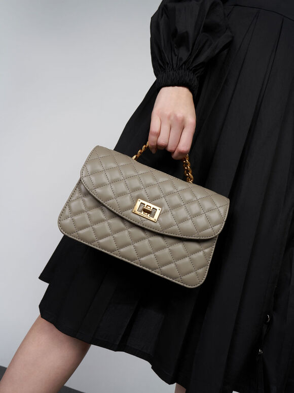 Quilted Clutch, Taupe, hi-res