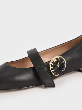 Leather Buckle Mary Janes, Black, hi-res