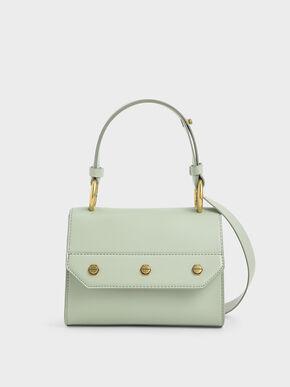 Studded Top Handle Bag, Mint Green, hi-res