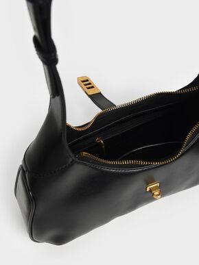 Metallic Accent Hobo Bag, Black, hi-res