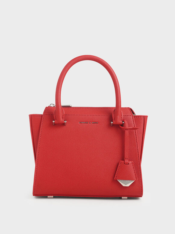 Structured Trapeze Bag, Red, hi-res