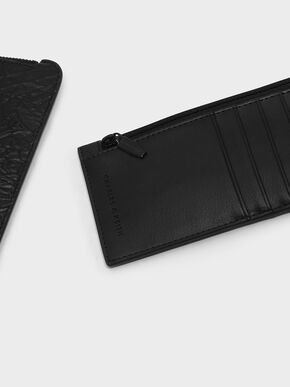 Wrinkled Effect Zip Wallet, Black, hi-res