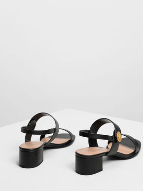 Open Toe Midi Block Heels, Black, hi-res