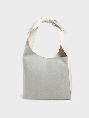 Woven Knotted Handle Hobo Bag, Light Grey, hi-res