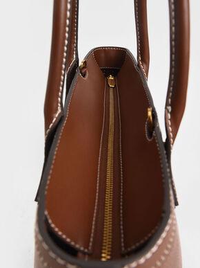 Double Handle Tote Bag, Chocolate, hi-res
