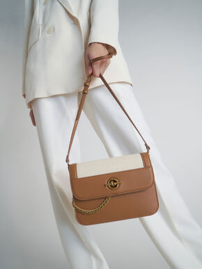 Metallic Accent Chain Handle Bag, Ivory, hi-res