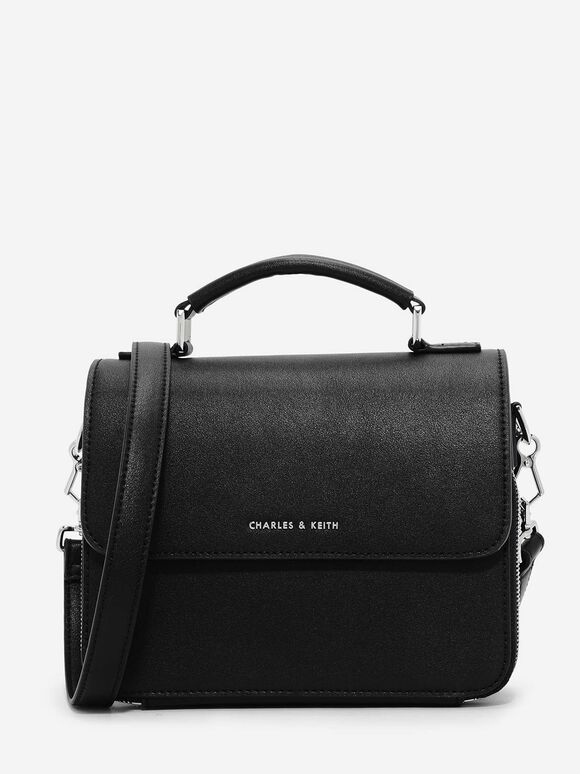 Front Flap Sling Bag, Black, hi-res