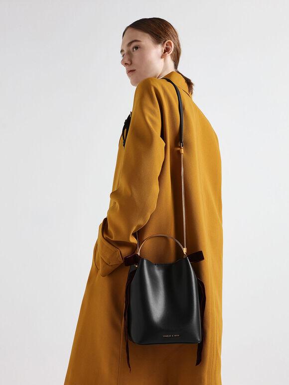 Velvet Bow Detail Bucket Bag, Black, hi-res
