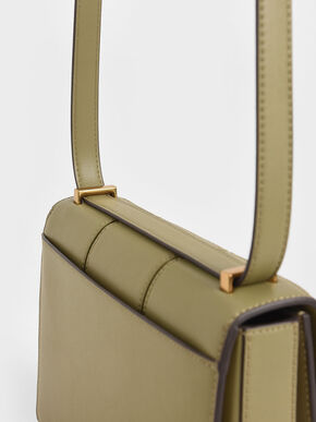 Textured Panelled Shoulder Bag, Khaki, hi-res