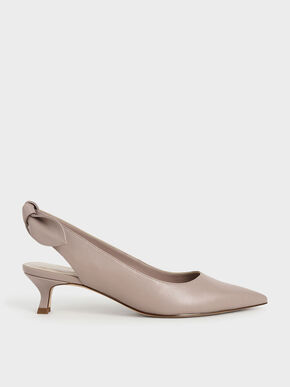 Bow Slingback Pumps, Pink, hi-res