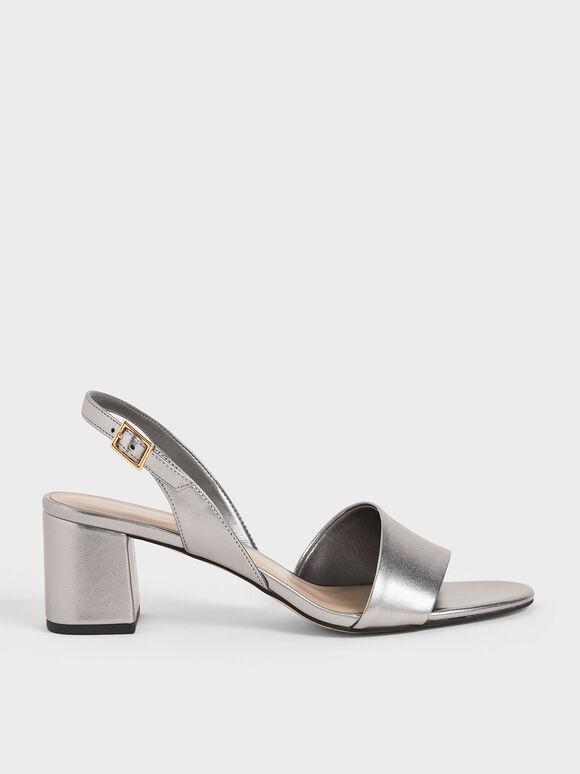 Metallic Slingback Sandals, Silver, hi-res