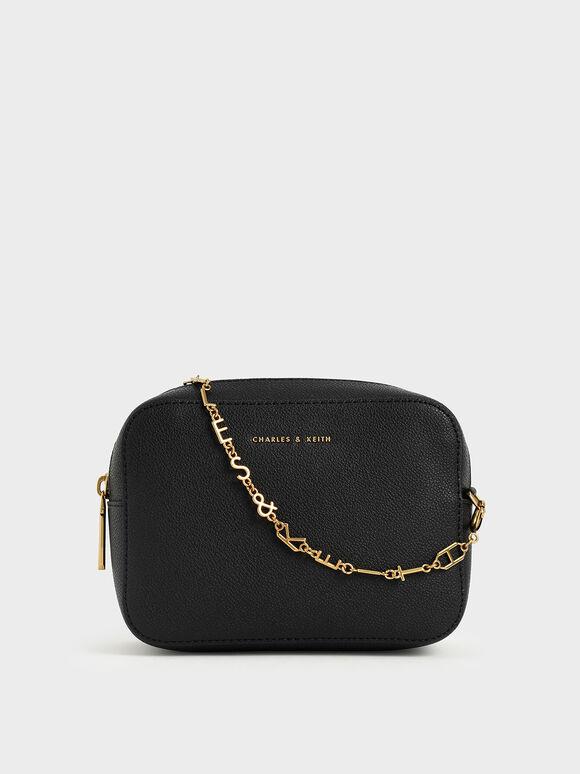 Chain Link Boxy Clutch, Black, hi-res