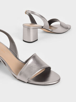 Metallic Slingback Sandals, Silver, hi-res