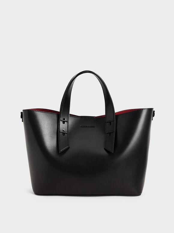 Double Handle Hobo Bag, Black, hi-res