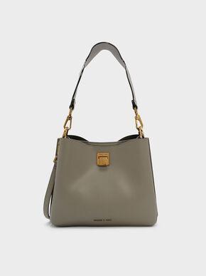 Wavy Strap Handbag, Taupe, hi-res