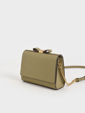 Bow Envelope Clutch, Khaki, hi-res