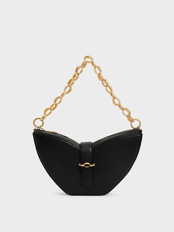 Chain Handle Sculptural Bag, Black, hi-res