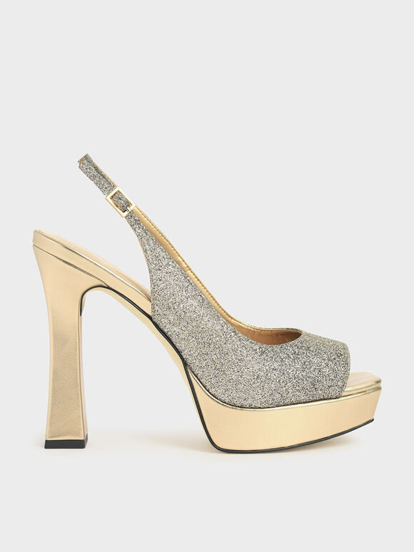 Platform Slingback Sandals, Bronze, hi-res