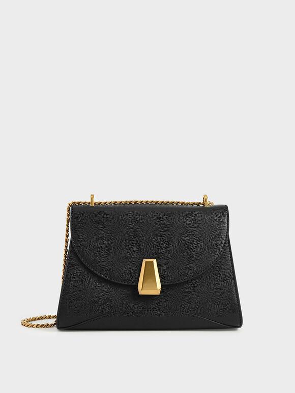 Metallic Push-Lock Trapeze Shoulder Bag, Black, hi-res