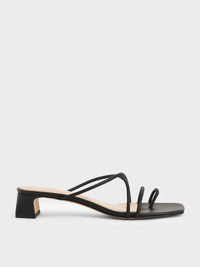 Strappy Toe Ring Sandals, Black, hi-res