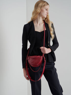 Half Moon Crossbody Bag, Red, hi-res