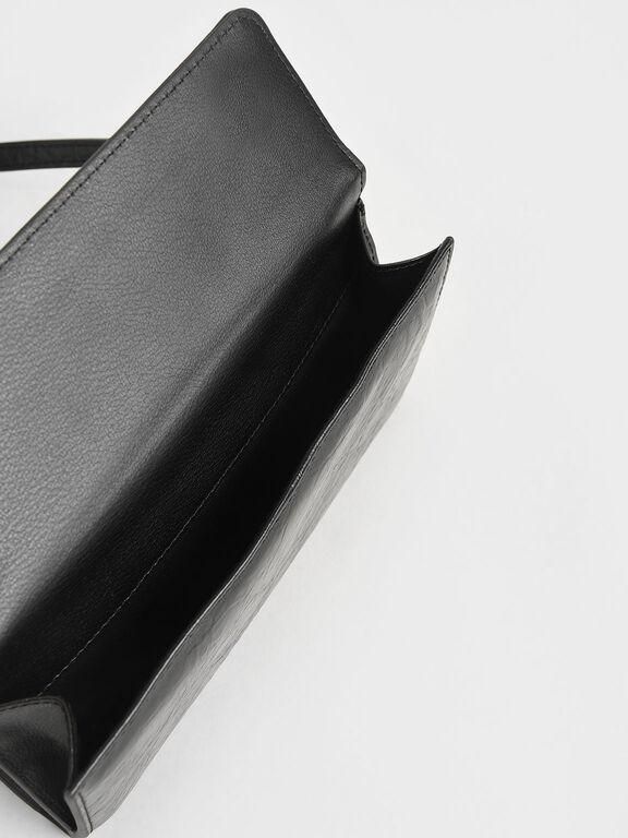 Panelled Chain Handle Wallet, Black, hi-res