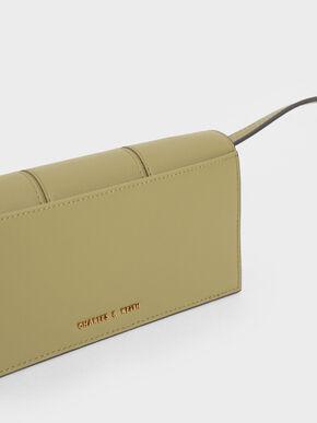 Panelled Long Wallet, Khaki, hi-res