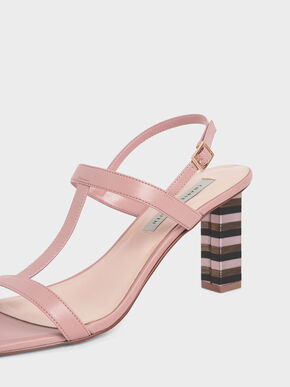 Strappy Block Heeled Sandals, Pink, hi-res