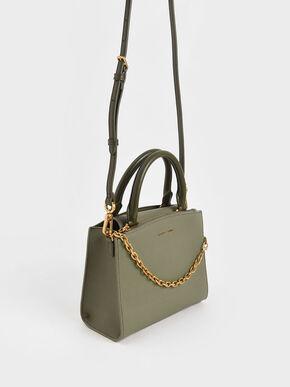 Chain-Link Top Handle Bag, Sage Green, hi-res