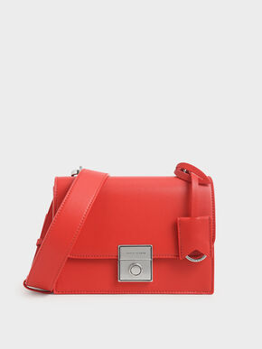 Boxy Push Lock Crossbody Bag, Red, hi-res