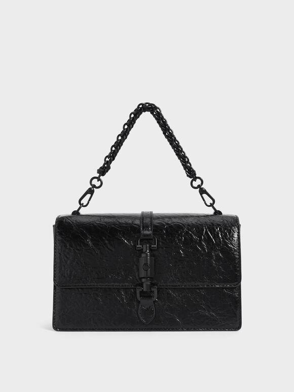 Single Chain Handle Shoulder Bag, Matte Black, hi-res