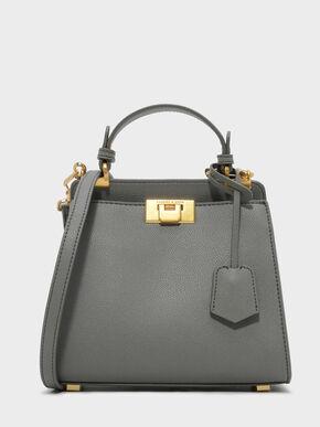 Metallic Push-Lock Trapeze Handbag, Grey, hi-res