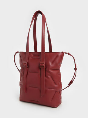 Puffer Double Handle Tote Bag, Red, hi-res
