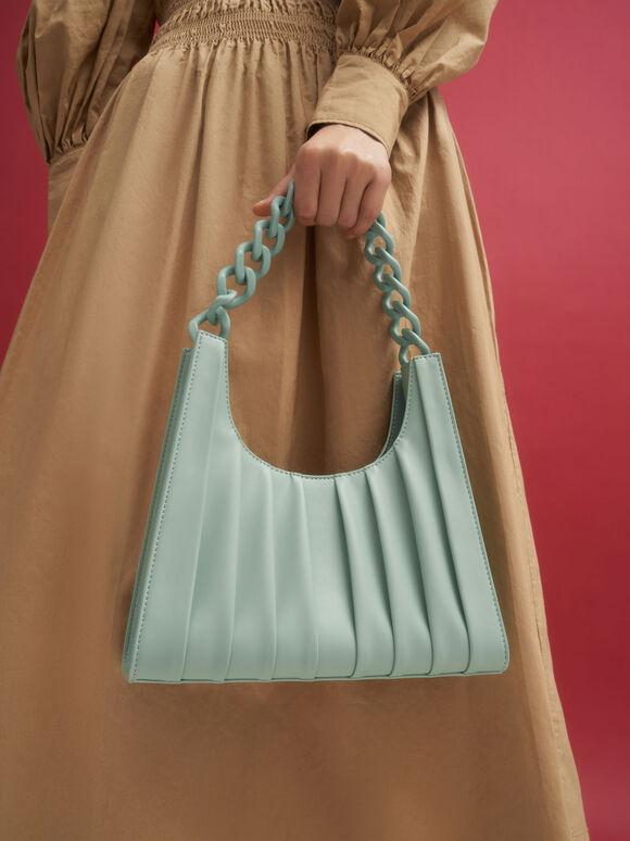 Chain Handle Pleated Shoulder Bag, Sage Green, hi-res