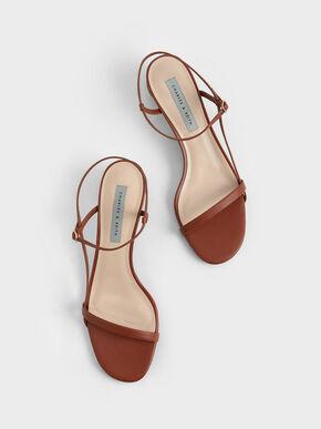 Sculptural Heel Ankle Strap Sandals, Brown, hi-res
